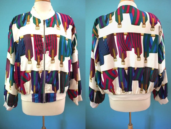 80's Jacket 1980's Style Silky Polyester Colorful