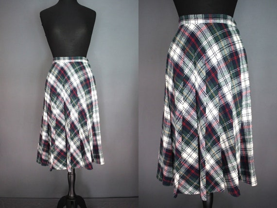 bf14b13b30 80's Skirt 80's Preppy Style Plaid Wool Pleated | Etsy