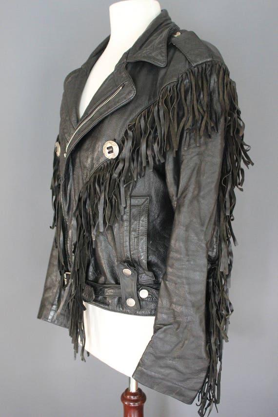 80's Leather Jacket    80's Black Fringed Leather… - image 4