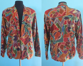 90's Blazer    90's Woman's Rayon Abstract Print Beaded Blazer