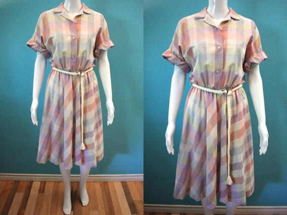 80's Dress   80's Pastel Plaid Shirtwaist Day Dres