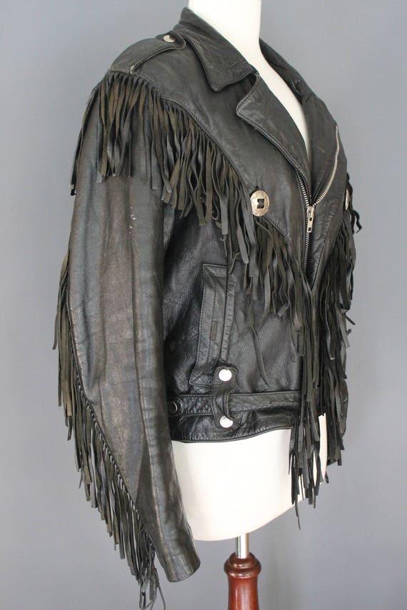 80's Leather Jacket    80's Black Fringed Leather… - image 3
