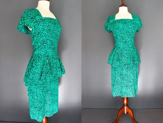 80's Peplum Dress     80's Does 40's Green Abstrac