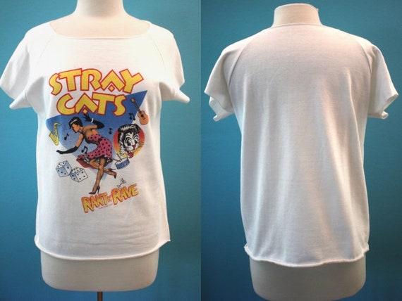 80's Band Tee.......1983 Stray Cats Cutoff Sweatsh