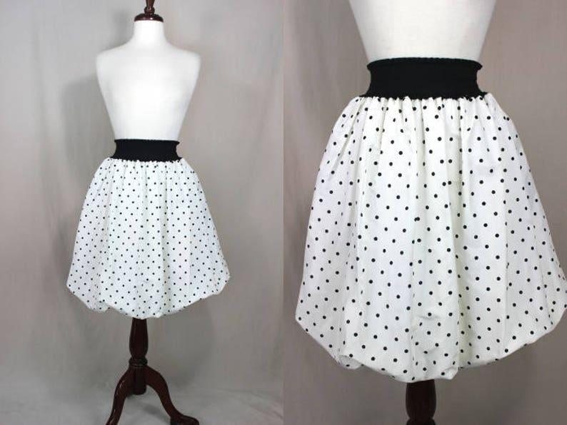 80 s Skirt 80 s White And Black Polka Dot Taffeta  dea17104f