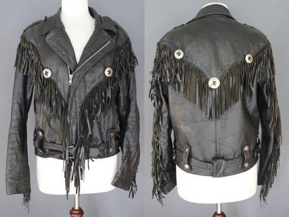 80's Leather Jacket    80's Black Fringed Leather