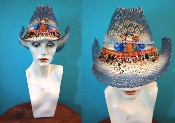 90's Mexican Cowboy Hat With Beaded Trim