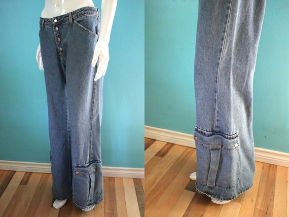 90's Jeans    90's Raver Flare Jeans With Patch Po