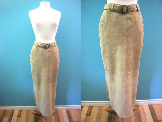 90's Skirt 1990's Taupe Suede Midi Length Pencil S