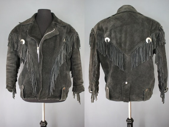 80's Leather Jacket    80's Black Sueded Fringed L