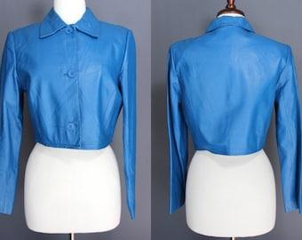 80's Leather Jacket.....Royal Blue 80's Leather Crop Jacket