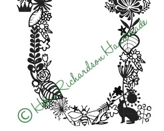 Floral Alphabet letter 'U' paper cutting template for PERSONAL USE