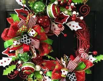 red whimsical round christmas wreath christmas door decor