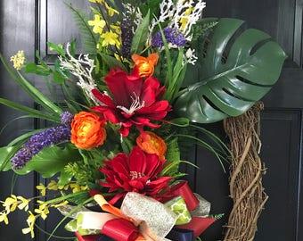 Torch Ginger Tropical Wreath, Door Decoration, Summer Door Decor
