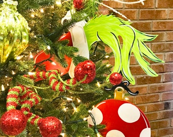 tree decor grinch inspired hand ornament with or without topper bow