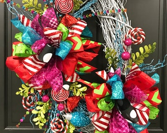 candyland christmas wreath oval