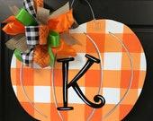 Buffalo Check Orange Pumpkin Door Hanger