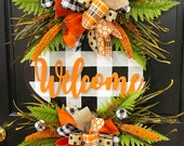 Buffalo Check Welcome Plaque FALL Everyday Wreath - Orange, Burlap Black White