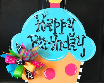 Birthday Cupcake Door Hanger, Party Decor, Wooden Cupcake Decoration, Happy Birthday Door Hanger