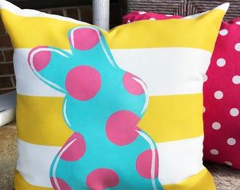 "18"" Custom-Bunny Profile Shape and Dots Pillow"
