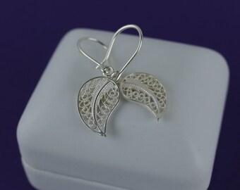 228c2708aaa3 Silver Earrings   Little Leaves Sterling Silver Earrings   White Filigree  Earrings   Sterling Silver 950   0.75