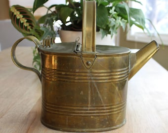 Vintage Brass Hot Water Can, Brass Watering Can