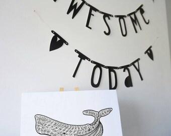 Zentangle whale print
