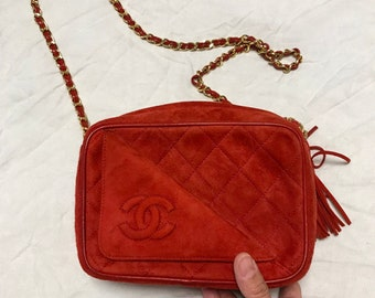 773910029d13 Authentic Vintage Chanel very rare red suede camera bag