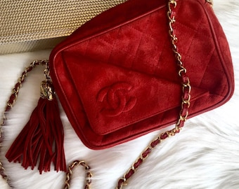 Authentic Vintage Chanel very rare red suede camera bag 7b4663840e90f