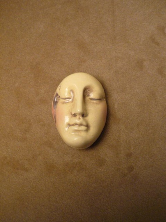 Priestess spiral goddess handmade ceramic guardian protection and strength beading jewelry altar doll magic the face Diane Briegleb 274