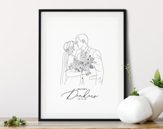 Featured listing image: Custom Illustration | Couple Line Art Portrait, Wedding Gift, Personalized Print, Custom Portrait Drawing, Line Art Portrait