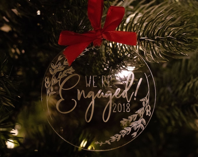 Featured listing image: Clear Acrylic Ornament | We're Engaged, Engaged Ornament, Engaged Christmas Ornament