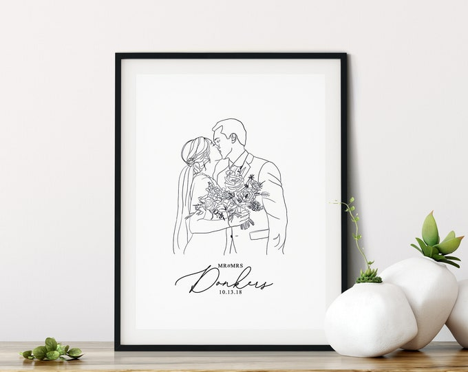 Featured listing image: Custom Illustration | Couple Line Art Portrait, Wedding Gift, Personalized Print, Custom Portrait Drawing, Line Art Portrait