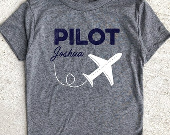 c918753eb Custom Name Pilot Shirt Boy, Trendy and Modern Airplane Gift, Pilot Gift  Shirt, Trendy Pilot Shirt for Toddler Boy, Custom Name Pilot Shirt