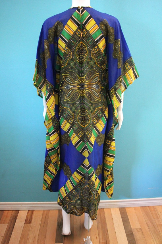 60's Kaftan 60's Blue And Yellow Paisley Print Sh… - image 6