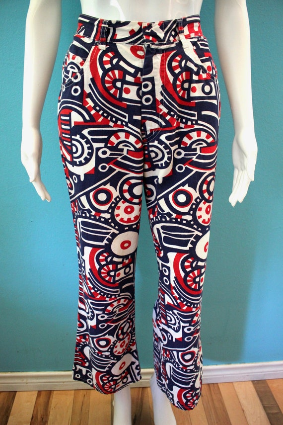 70's Women's Pants Late 60's/Early 70's Red White… - image 3