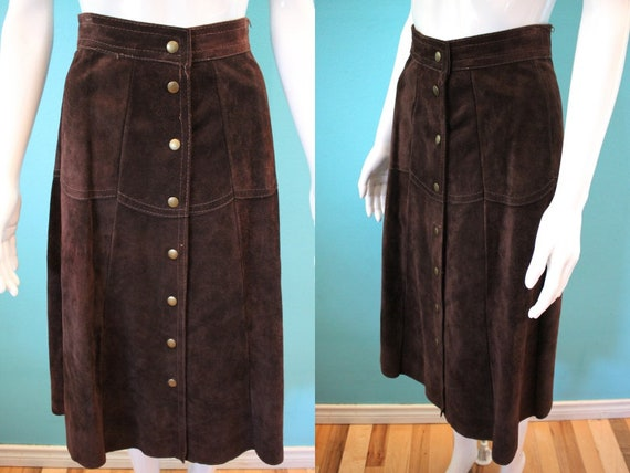 70's Suede Skirt 1970's Dark Chocolate Brown Suede