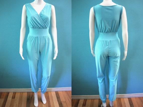 70's Jumpsuit 1970's Aqua Polyester Harem Style Di