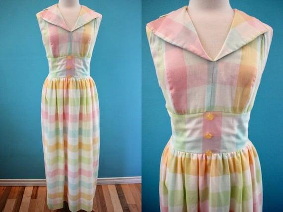 60's Maxi Dress Mid-60's Pastel Plaid Springtime E