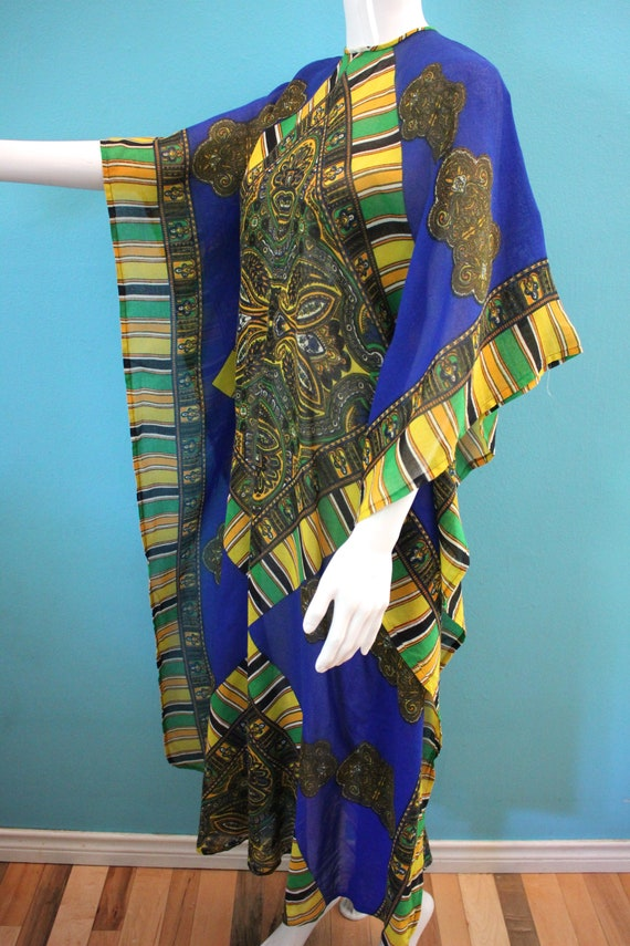 60's Kaftan 60's Blue And Yellow Paisley Print Sh… - image 5