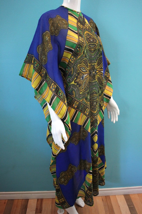 60's Kaftan 60's Blue And Yellow Paisley Print Sh… - image 4