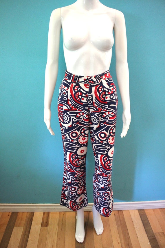 70's Women's Pants Late 60's/Early 70's Red White… - image 2