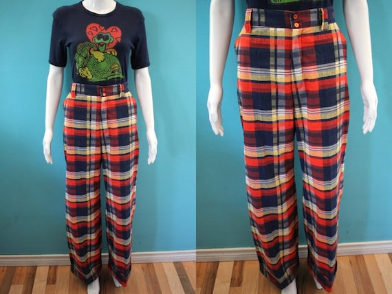 70's Women's Pants 70's Women's Madras Plaid Wide
