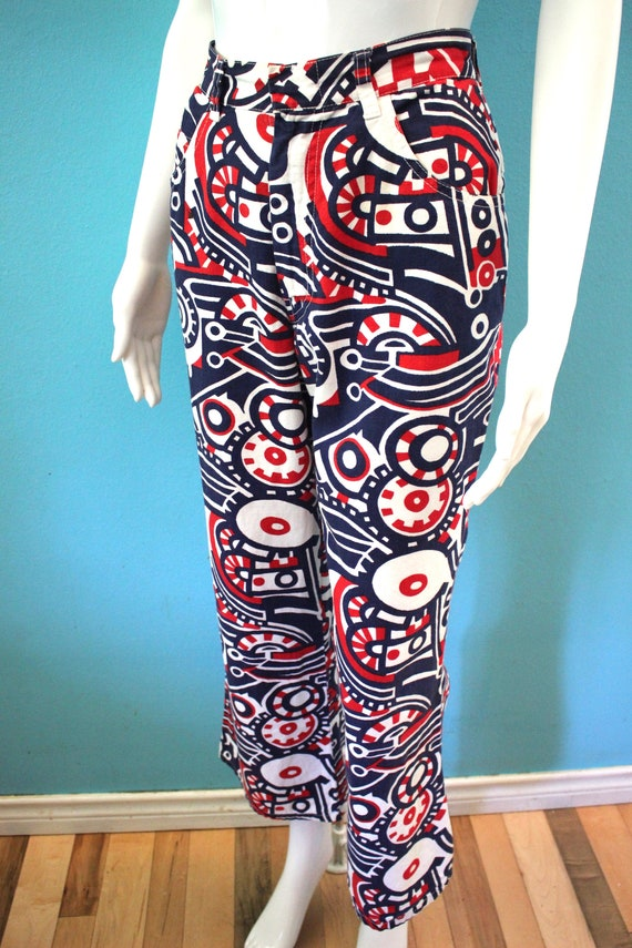 70's Women's Pants Late 60's/Early 70's Red White… - image 6