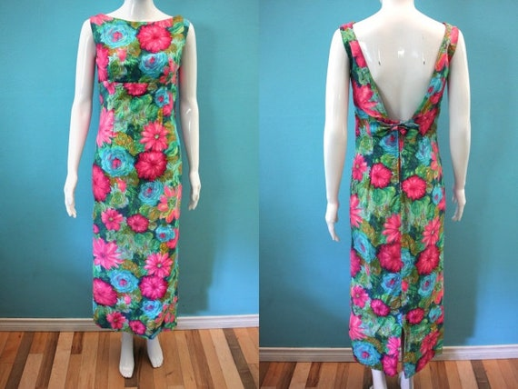 60's Dress 1960's Floral Maxi Hostess Dress 60's H
