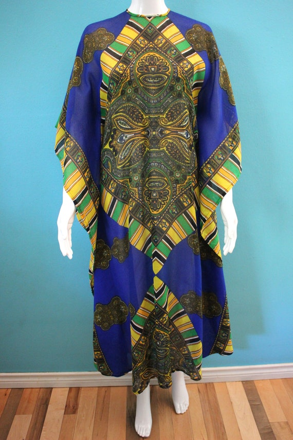 60's Kaftan 60's Blue And Yellow Paisley Print Sh… - image 2