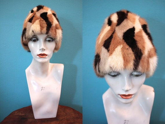 60's Hat    60's Patchwork Fur Cloche Hat