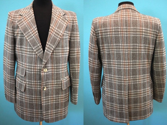 70's Sports Jacket 70's Men's Plaid Polyester Suit