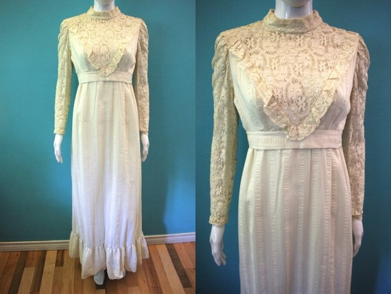 70's Maxi Dress 1970's Cream Victorian Style Maxi