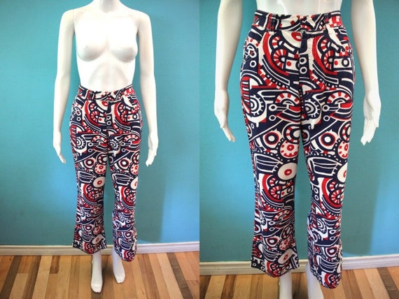 70's Women's Pants Late 60's/Early 70's Red White… - image 1